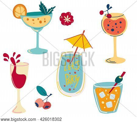 Set Of Cocktails. Hand Draw Alcoholic Beverages, Refreshing Cocktails With Ice Cubes, Berries And Ol