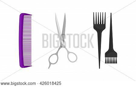 Hairstyling Tool With Comb And Scissors For Doing Hair Vector Set