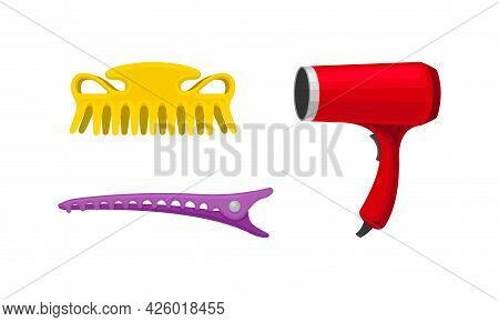 Hairstyling Tool With Hair Dryer And Hair Crab For Doing Hair Vector Set