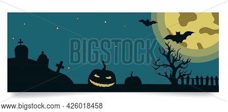 Halloween Banner Template With Tree, Pumpkin, Gravestones, Moon, Bats On Full Moon Background. Vecto