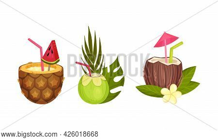 Hawaiian Beach Attributes And Tropical Symbols With Coconut And Pineapple Cocktail With Straw Vector