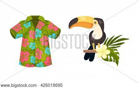 Hawaiian Beach Attributes And Tropical Symbols With Floral Shirt And Toucan Bird Vector Set