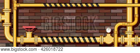 Pipeline System. Horizontal Picture With Place For Text On A Brick Wall Background. Yellow Metal Pip