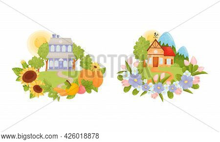 Village Houses Standing On Meadow With Winding Path Surrounded By Circular Crop And Flower Arrangeme