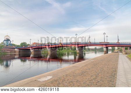 Gorzow Wielkopolski, Poland - June 1, 2021: Staromiejski Bridge Over Warta River In The City Center