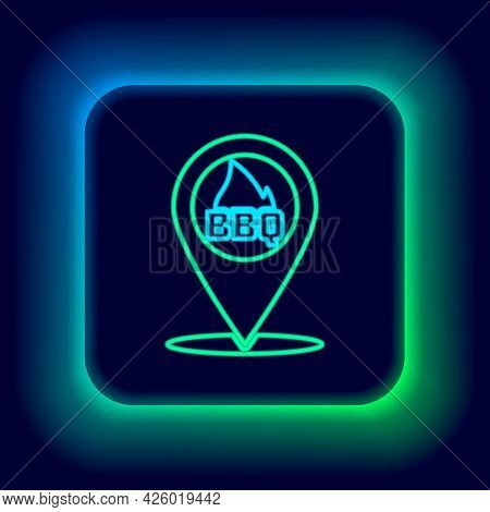 Glowing Neon Line Map Pointer With Barbecue Icon Isolated On Black Background. Fire Flame Icon. Barb