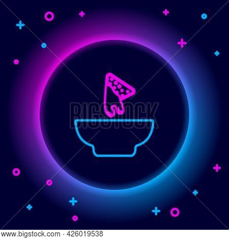 Glowing Neon Line Nachos In Plate Icon Isolated On Black Background. Tortilla Chips Or Nachos Tortil