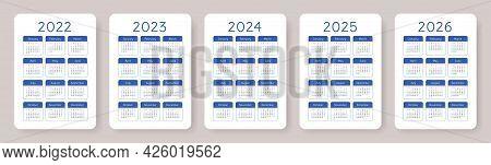 Calendar 2022, 2023, 2024, 2025 And 2026. English Blue Vector Pocket Calender Design Template