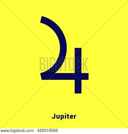 Jupiter. Planet Symbol. Vector Color Sign. Astrological Calendar. Jyotisha. Hinduism, Indian Or Vedi