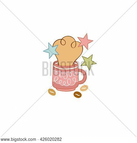 Hot Drink. Coffee Cup. Cartoon Drink. Coffee Beans. Stars. Isolated Vector Objects On A White Backgr