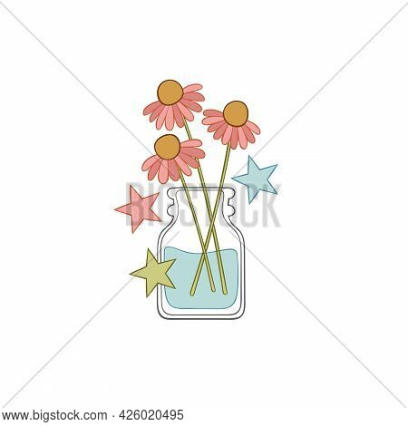 Flowers In Vase. Stars. Isolated Vector Object On White Background.