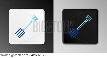 Line Garden Pitchfork Icon Isolated On Grey Background. Garden Fork Sign. Tool For Horticulture, Agr