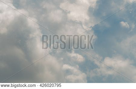 White Fluffy Clouds On Blue Sky. Soft-touch Feeling Like Cotton. White Puffy Cloudscape. Beauty In N