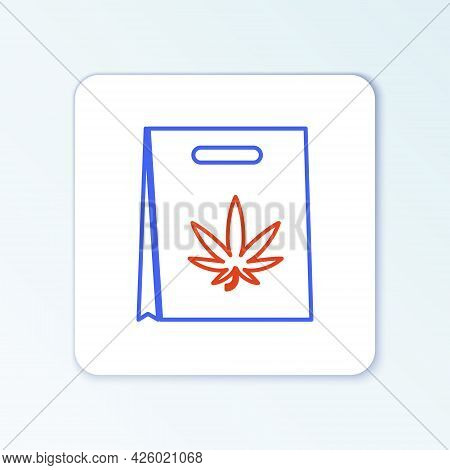 Line Shopping Paper Bag Of Medical Marijuana Or Cannabis Leaf Icon Isolated On White Background. Buy