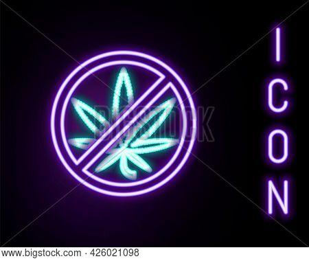 Glowing Neon Line Stop Marijuana Or Cannabis Leaf Icon Isolated On Black Background. No Smoking Mari