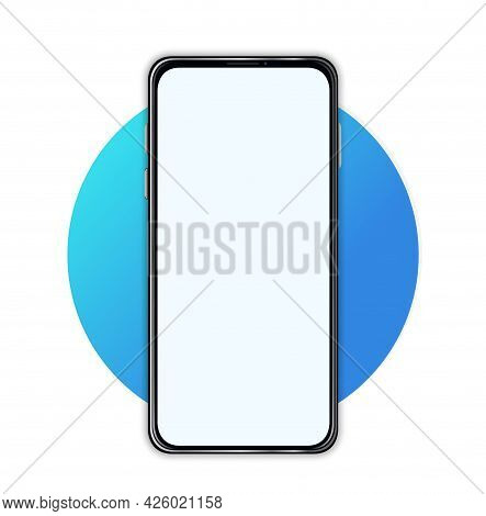 Smartphone Mockup With Blank Screen. A Phone Template Without A Screen For Inserting Various Interfa