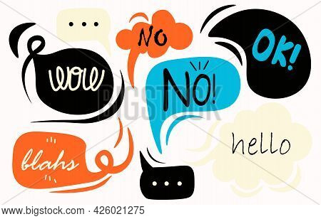 Various Speech Bubbles With Words. Hand-drawn Set For Stickers And Printing. Isolated Design Element