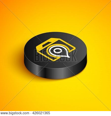 Isometric Line Location With Cardboard Box Icon Isolated On Yellow Background. Delivery Services, Lo