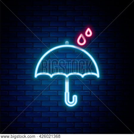 Glowing Neon Line Umbrella And Rain Drops Icon Isolated On Brick Wall Background. Waterproof Icon. P