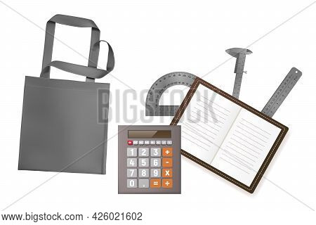 Realistic Gray Eco Bag, Calculator, Ruler, Notepad Vector Illustration.