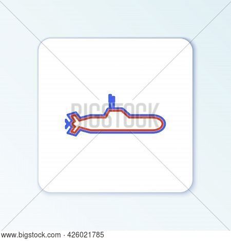 Line Submarine Icon Isolated On White Background. Military Ship. Colorful Outline Concept. Vector