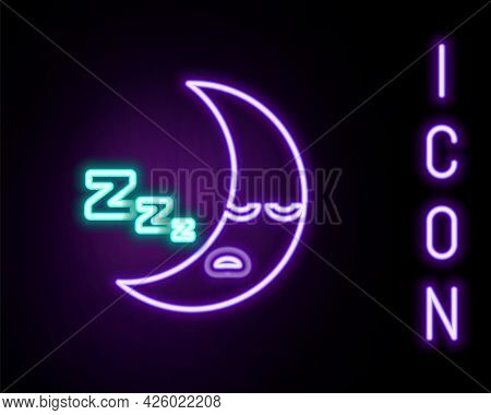 Glowing Neon Line Moon Icon Isolated On Black Background. Cloudy Night Sign. Sleep Dreams Symbol. Ni