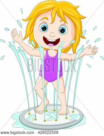Vector Illustration Of Cartoon Little Girl Playing Water Fountain