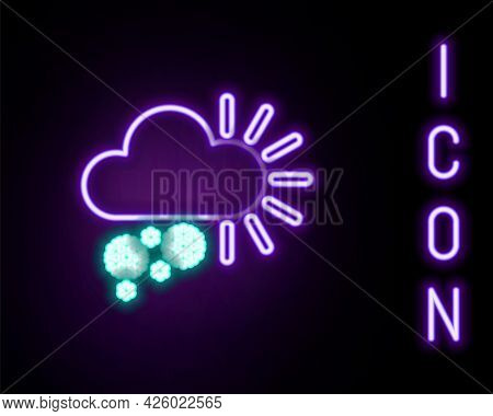 Glowing Neon Line Cloudy With Snow Icon Isolated On Black Background. Cloud With Snowflakes. Single