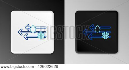 Line Wind And Rain With Snow Icon Isolated On Grey Background. Windy Weather. Colorful Outline Conce