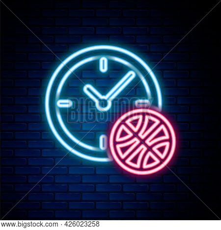 Glowing Neon Line Planning Strategy Concept Icon Isolated On Brick Wall Background. Basketball Cup F