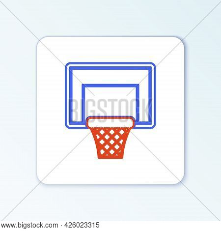 Line Basketball Ball And Basket Icon Isolated On White Background. Ball In Basketball Hoop. Colorful