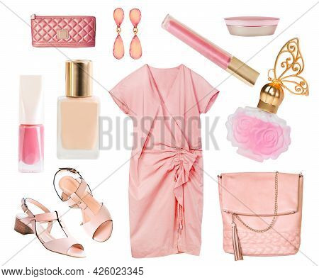 Coral Soft Pink Salmon Color Dress Clothes And Accessories Collage Set Isolated On White.