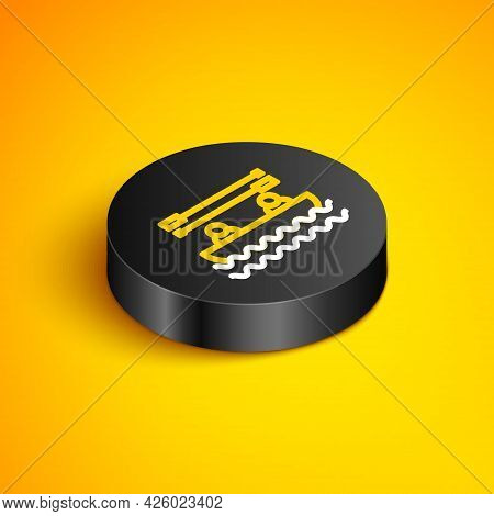 Isometric Line Boat With Oars And People Icon Isolated On Yellow Background. Water Sports, Extreme S