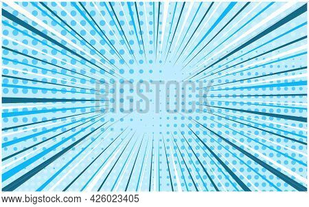 Light Tender Blue Striped Retro Comic Background With Dotted Halftone Corners. Cartoon Bright Turquo