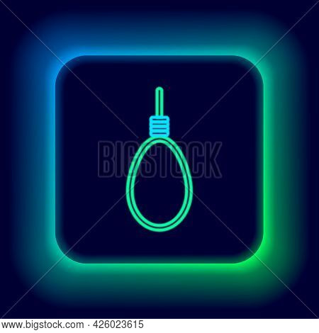 Glowing Neon Line Gallows Rope Loop Hanging Icon Isolated On Black Background. Rope Tied Into Noose.