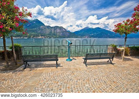 Lungolago Europa Famous Lakefront Walkway In Belaggio, Town On Como Lake, Lombardy Region Of Italy