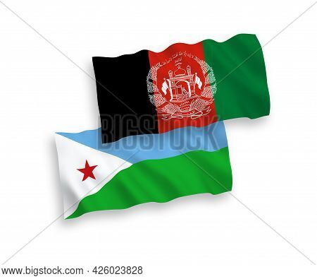 National Fabric Wave Flags Of Republic Of Djibouti And Islamic Republic Of Afghanistan Isolated On W