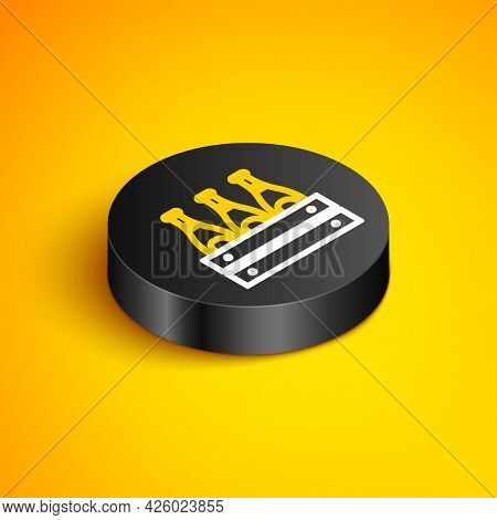 Isometric Line Pack Of Beer Bottles Icon Isolated On Yellow Background. Wooden Box And Beer Bottles.