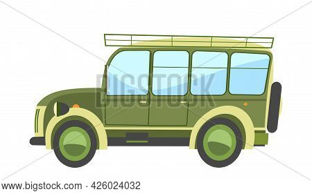 Car Off Road. Cartoon Comic Funny Style. Side View. Beautiful Green Automobile. Auto In Flat Design.