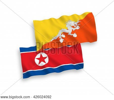 National Fabric Wave Flags Of North Korea And Kingdom Of Bhutan Isolated On White Background. 1 To 2