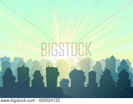 Town. Silhouette Of Cartoon Houses Of The Village Or City. Street. Morning And Sun With Rays. Nice C