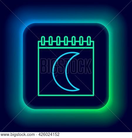 Glowing Neon Line Moon Phases Calendar Icon Isolated On Black Background. Colorful Outline Concept.