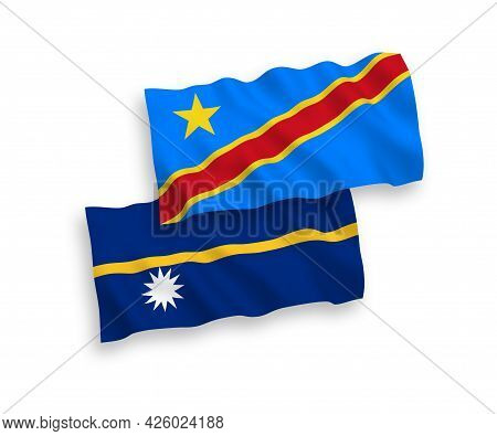 National Fabric Wave Flags Of Republic Of Nauru And Democratic Republic Of The Congo Isolated On Whi