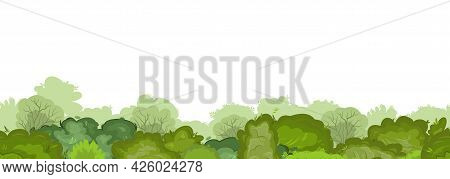 Dense Thickets Of Bushes And Tops Of Forest Trees. Seamless. Summer Green Landscape With Lush Foliag