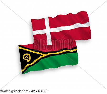 National Fabric Wave Flags Of Denmark And Republic Of Vanuatu Isolated On White Background. 1 To 2 P
