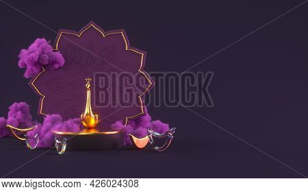 Diwali, Festival Of Lights Podium Scene With 3d Indian Rangoli, Glossy And Golden Decorative Diya Oi