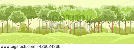 Thin Young Trees And Bushes. Forest Or Garden. Grassy Green Rural Hills. A Beautiful And Graceful Su