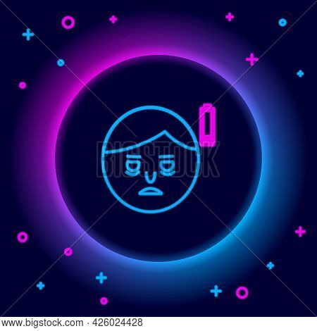 Glowing Neon Line Fatigue Icon Isolated On Black Background. No Energy. Stress Symptom. Negative Spa