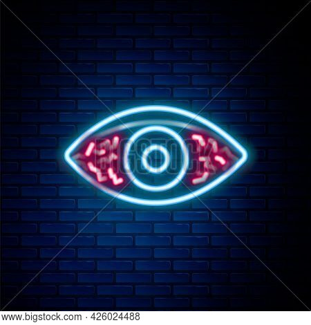 Glowing Neon Line Reddish Eye Due To Viral, Bacterial Or Allergic Conjunctivitis Icon Isolated On Br