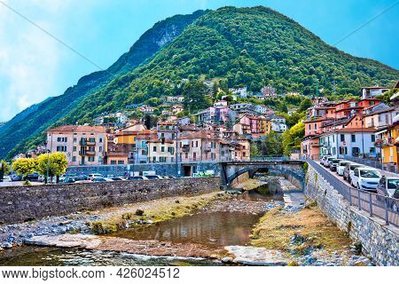 Colorful Village Of Argegno On Como Lake View, Lombardy Region Of Italy